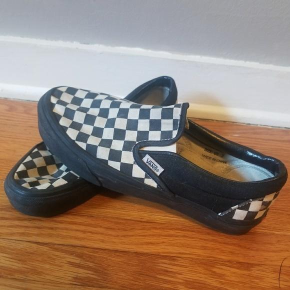 a347e65787a4 Vans Custom Black Sole Checkerboard Slip Ons. M 5b4273589fe486892fae7dea